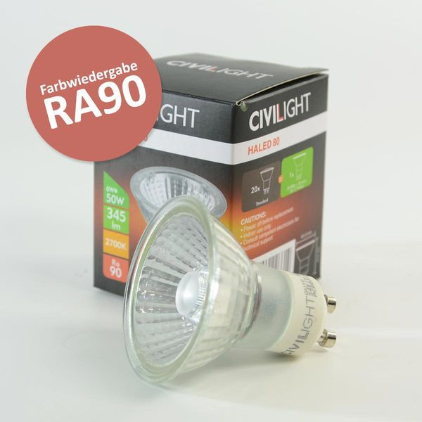 LED Spot HALIGHT GU10 6W dimmbar Warmweiss 345lm 36° Ra90