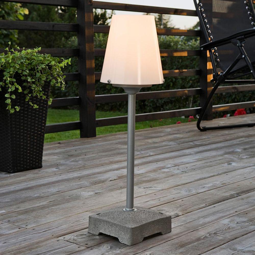 LED Terrassenleuchte Lucca klein E27 aus Beton und Aluminium in Weiss IP44