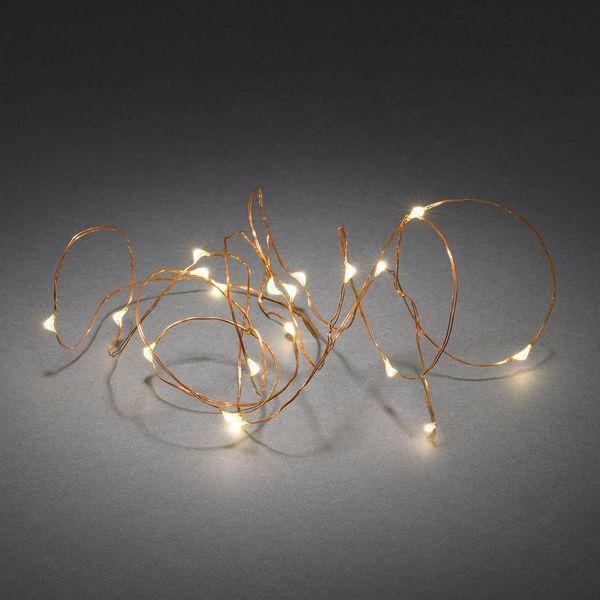 Micro LED Lichterkette 1.9m Kupfer mit 6h-Timer und 20 warmweissen Dioden batteriebetrieben