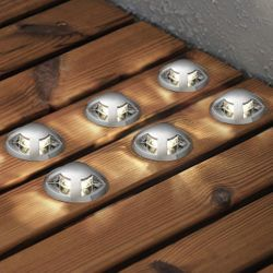 LED Mini Bodenspots Set 6-Teilig aus Kunststoff Warmweiss IP44 6x5lm