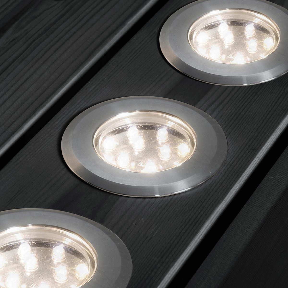 led mini bodenspots set 3 teilig aus edelstahl warmweiss ip44 3x12lm. Black Bedroom Furniture Sets. Home Design Ideas