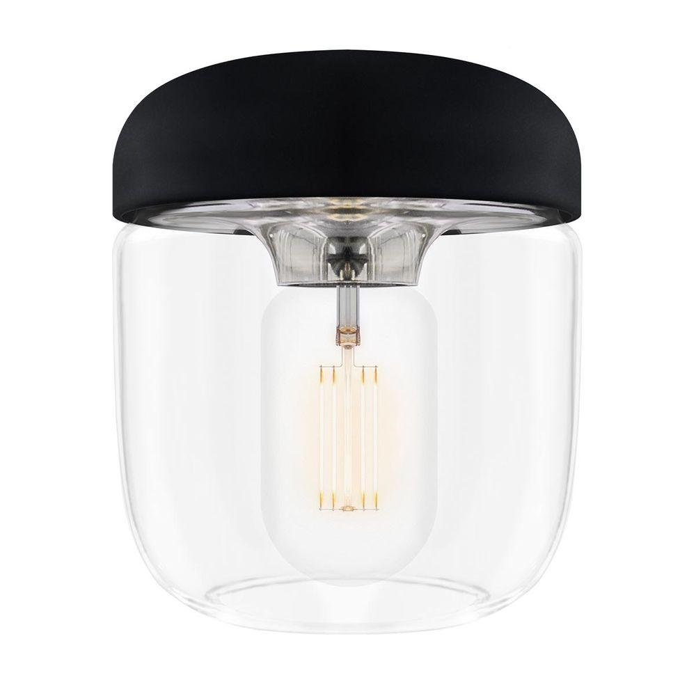VITA Leuchtenkopf Acorn E27 Aluminium Silikon Glas schwarz & silber 140 x 140 x 160mm