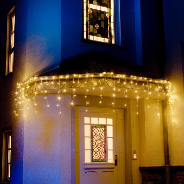 led eisregen lichtervorhang 5m 200 warmweisse dioden 24v ip44. Black Bedroom Furniture Sets. Home Design Ideas