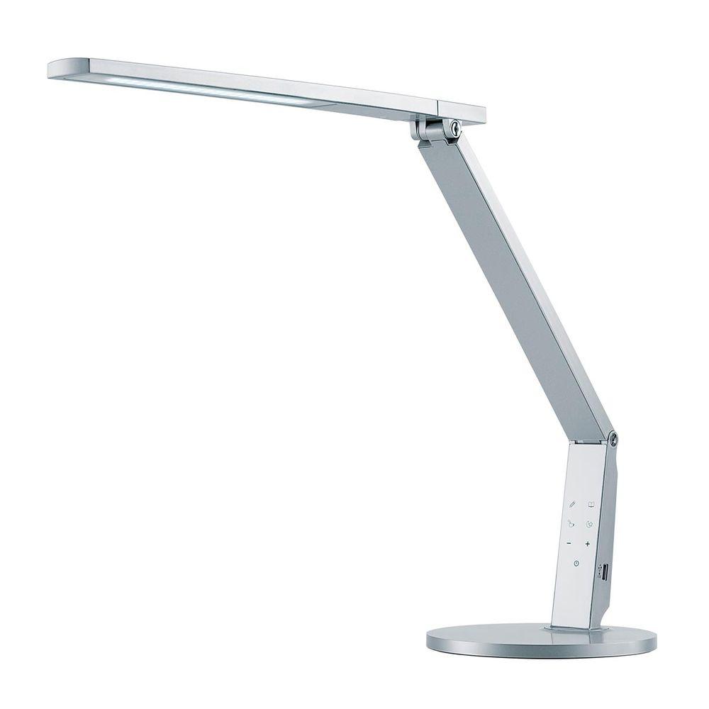 LED Schreibtischlampe Vario Plus silber 10W 741lm dimmbar mit Farbtemperaturwechsel mit USB Anschluss