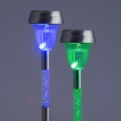 LED Solar Leuchte SHIAN blau-grün IP44 mit Sensor im 2er Set