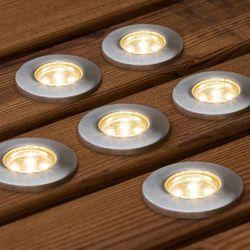 LED Mini Bodenspots Set 6-Teilig aus Edelstahl Warmweiss IP44 6x5lm