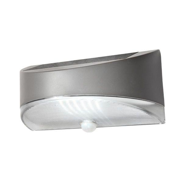LED Solar Wandleuchte BREAD silber 1.2W 100lm Neutralweiss mit Bewegungsmelder IP44