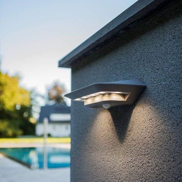 LED Solar Wandleuchte GHOST Silber 2.4W 260lm Neutralweiss mit Bewegungsmelder IP44