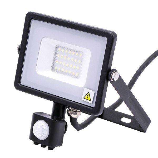 LED Flutlicht Samsung SMD 20W 1'600lm 100° schwarz IP65 mit Präsenzmelder A++