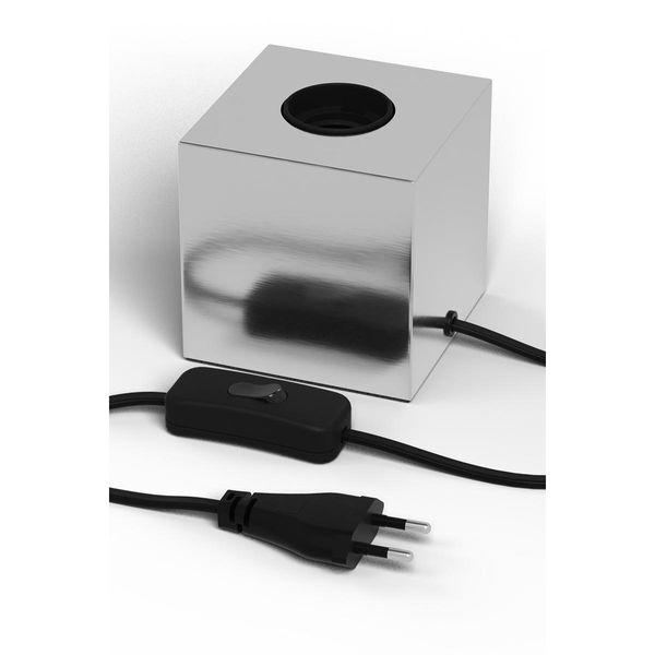 Tischlampe Cube chrom E27 mit Schalter
