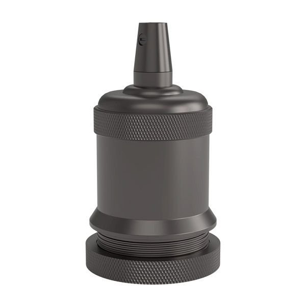 Aluminium Lampenfassung E27 schwarz satiniert Ø50mm mit Spitze M-003