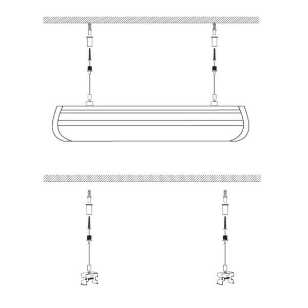 Verstellbare Stahlseilaufhängung 150cm