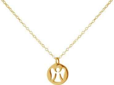 Gemshine - Damen - Halskette - Anhänger - 925 Silber - Vergoldet - ENGEL - 1,2 cm