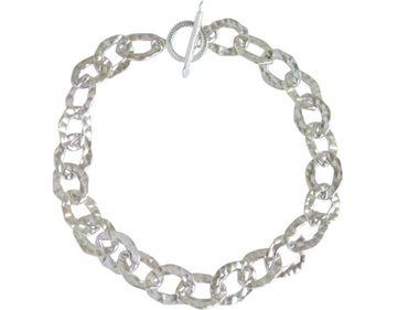 Gemshine - Damen - Unisex - Armband - Massiv 925 Silber - Gehämmert - 19 cm