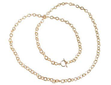 Gemshine - Damen - Halskette - Vergoldet - Gehämmert - 90 cm