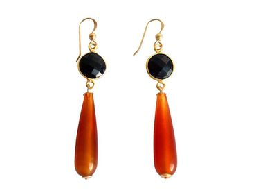Gemshine - Damen - Ohrringe - Vergoldet - Karneol - Onyx - Orange - Schwarz - PARTY DROPS - 5 cm