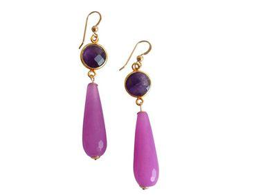 Gemshine - Damen - Ohrringe - Vergoldet - Jade - Amethyst - Grün - Violett - Lila - PARTY DROPS - 5 cm