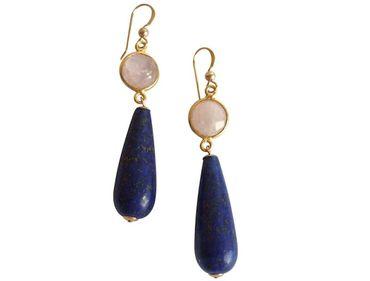 Gemshine - Damen - Ohrringe - Vergoldet - Rosenquarz - Lapis Lazuli - Rosa - Blau - PARTY DROPS - 5 cm