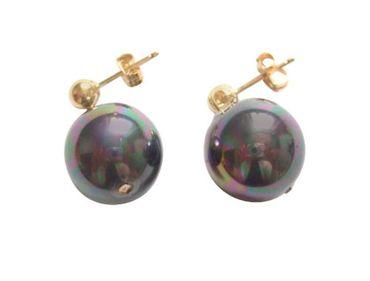 Gemshine - Damen - Ohrringe - Perlen - Tahiti - Grau - Vergoldet - 12 mm