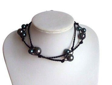 Gemshine - Damen - Halskette - Perlen - Tahiti - Grau - Leder - 925 Silber - 60 cm