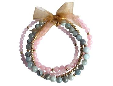 Gemshine - Damen - Armband Set - Rose Dream Gold - Aquamarin - Rosenquarz - Blau - Rosa - Vergoldet