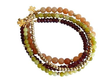 Gemshine - Damen - Armband Set - Golden Jade - Granat - Rot - Grün - Vergoldet