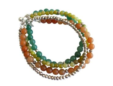 Gemshine - Damen - Armband Set - Silver Leaves - Jade - Aventurin - Grün - Orange - 925 Silber