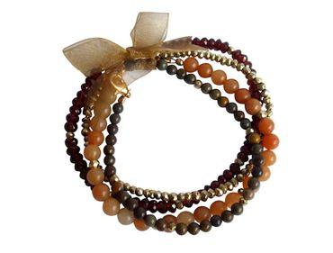 Gemshine - Damen - Armband Set - Golden Dream - Granat - Jade - Rot - Orange - Vergoldet