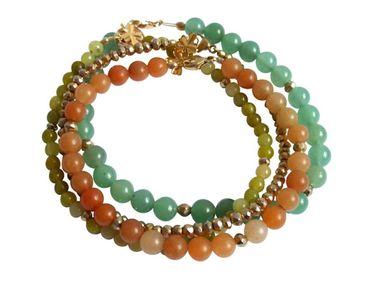 Gemshine - Damen - Armband Set - Golden Leaves - Jade - Aventurin - Grün - Orange - Vergoldet