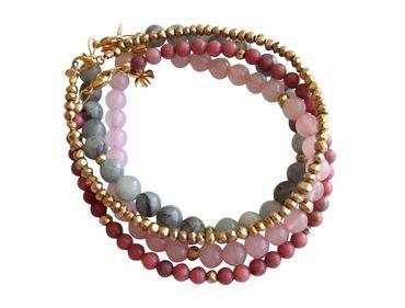 Gemshine - Damen - Armband Set - Marble Rose Gold - Aquamarin - Rosenquarz - Blau - Rosa - Vergoldet