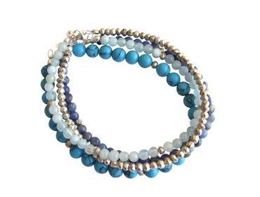 Gemshine - Damen - Armband Set - Sea Breeze Silber - Türkis - Aquamarin - Lapis Lazuli - Blau - 925 Silber