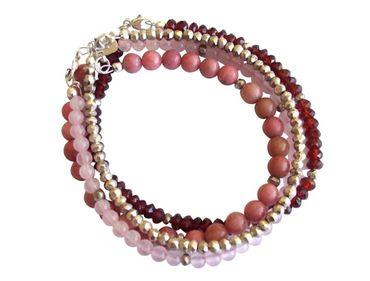 Gemshine - Damen - Armband Set - Red Berry Silber - Granat - Rosenquarz - Rot - Rosa - 925 Silber