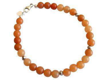 Gemshine - Damen - Armband - Jade - Orange - 925 Silber - 6 mm