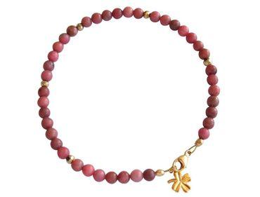Gemshine - Damen - Armband - Edelstein - Rosa - Vergoldet - 4 mm