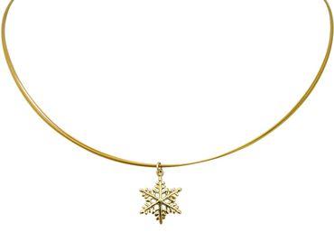 Gemshine - Damen - Halskette - Anhänger - SCHNEEFLOCKE - 925 Silber - Vergoldet - 2 cm