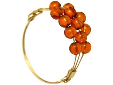Gemshine - Damen - Ring - Vergoldet - Bernstein - Orange