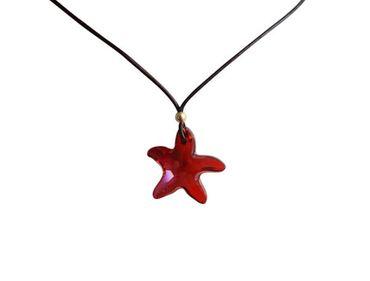 Gemshine - Damen - Halskette - Anhänger - Seestern - *Red Magma* - Rot - Vergoldet - MADE WITH SWAROVSKI ELEMENTS® - 45 cm