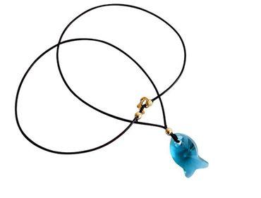 Gemshine - Damen - Halskette - Anhänger - Fisch - *Indicolite* - Blau - Vergoldet - MADE WITH SWAROVSKI ELEMENTS® - 45 cm