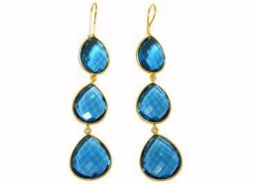 Gemshine - Damen - Ohrringe - 925 Silber - Vergoldet - Topas Quarz - Blau - CANDY - Tropfen - 9 cm