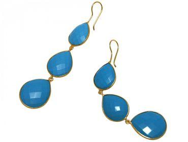 Gemshine - Damen - Ohrringe - 925 Silber - Vergoldet - Türkis - Blau - CANDY - Tropfen - 9 cm