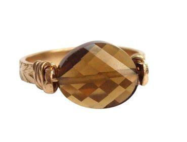 Gemshine - Damen - Ring - Spannring - Vergoldet - Rauchquarz - Braun