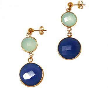 Gemshine - Damen - Ohrringe - 925 Silber - Vergoldet - Chalzedon - Saphir - Meeresgrün - Blau - Facettiert - 4 cm