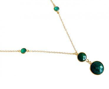 Gemshine - Damen - Halskette - Anhänger - 925 Silber - Vergoldet - Smaragd - Grün - Facettiert - 45 cm