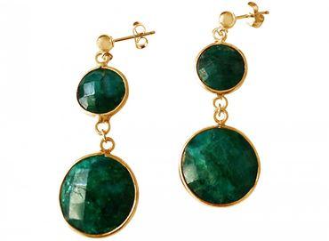 Gemshine - Damen - Ohrringe - 925 Silber - Vergoldet - Smaragd - Grün - Facettiert - 4 cm