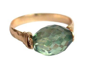 Gemshine - Damen - Ring - Spannring - Vergoldet - Amethyst - Grün