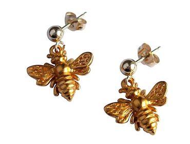 Gemshine - Damen - Ohrringe - 925 Silber - Vergoldet - BEE - Biene - 1,5 cm