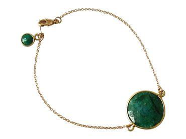 Gemshine - Damen - Armband - Vergoldet - Smaragd - Grün - Facettiert - 19 cm