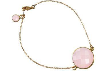 Gemshine - Damen - Armband - Vergoldet - Rosenquarz - Rosa - Facettiert - 19 cm