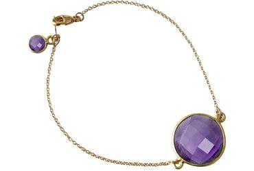 Gemshine - Damen - Armband - Vergoldet - Amethyst - Lila - Violett - Facettiert - 19 cm