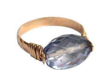 Gemshine - Damen - Ring - Spannring - Vergoldet - Amethyst - Blau